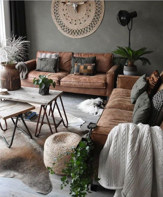 Floor lamps & indoor plants for the living room