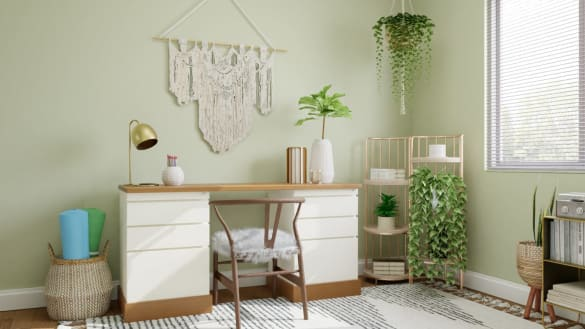 Home office design in pastel green