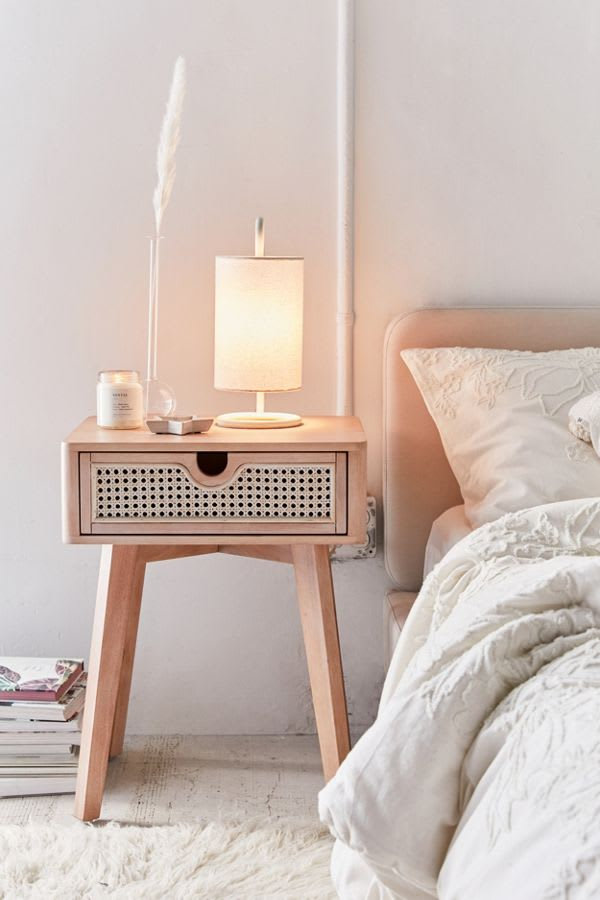 Rattan night stand from Marte collection Urban Outfitters