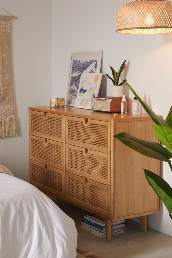 Marte 6 Drawer Dresser from Urban Outfitters in Rattan