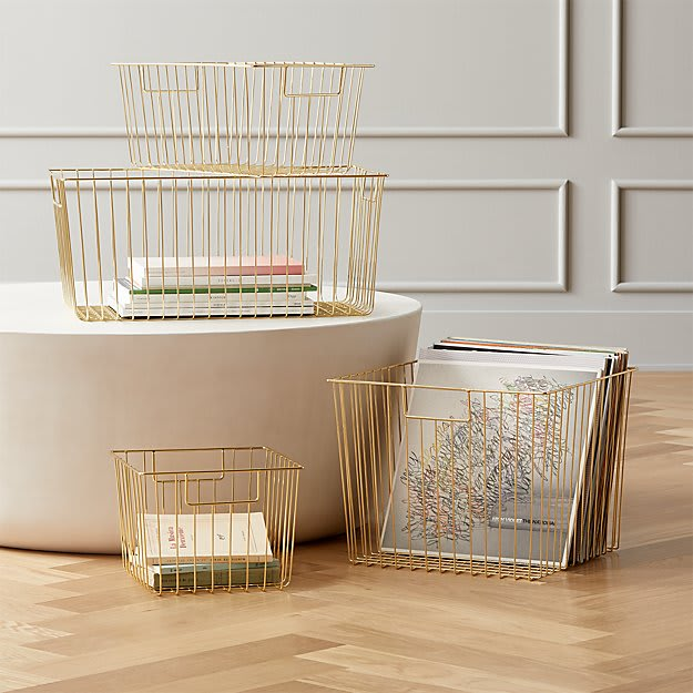 Wire baskets for dining table homeschooling