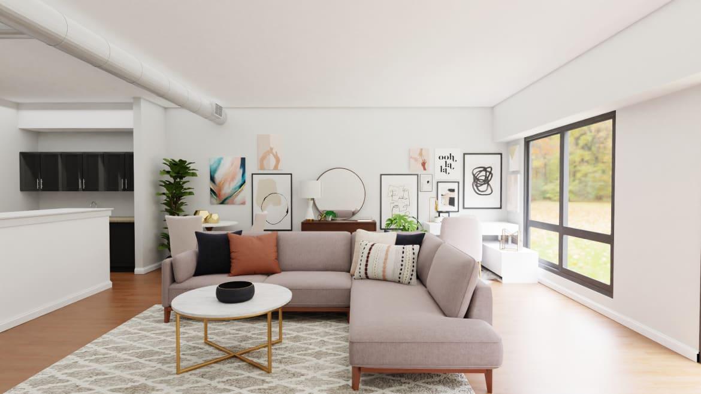 Spacejoy Mid-Century. Modern Living Room