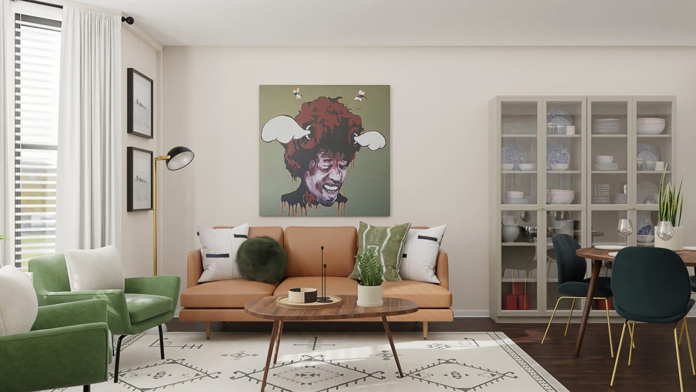 mid-century small living room