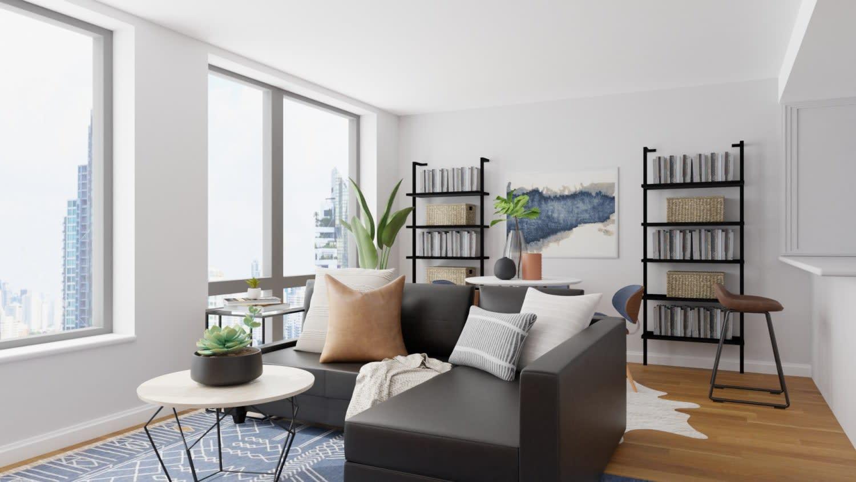 mid-century tiny living room space