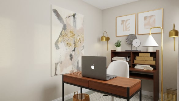 Home office design with a pop of pink