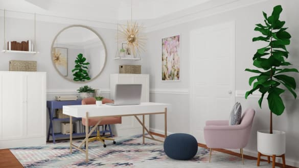 Home office design in shades of pastels