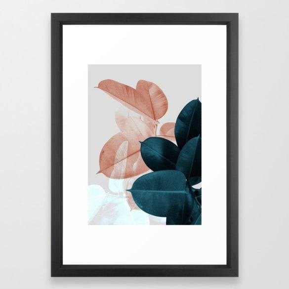 Moody Leaves Framed Print