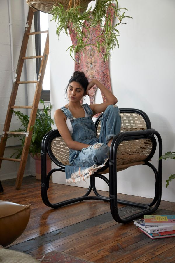 Marte Lounge Chair from Urban Outfitters in Rattan