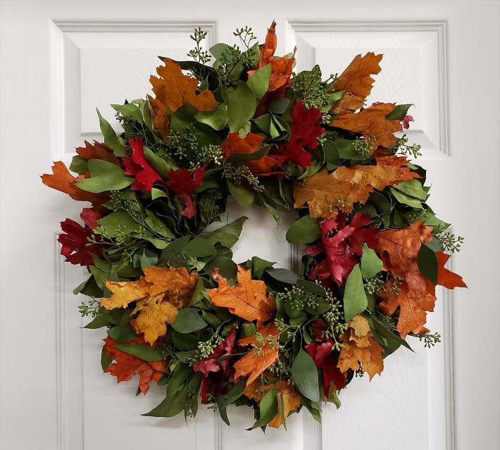 Dried Fall Leaves and Salal Wreath