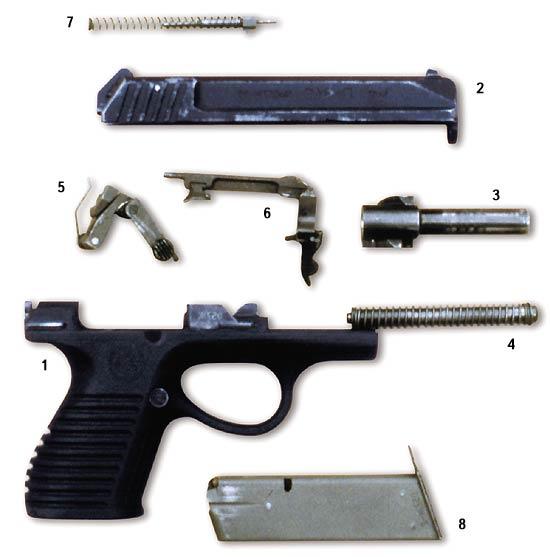 Неполная разборка пистолета П-96С