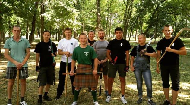 Участники семинара по ирландскому палочному и кинжальному бою
