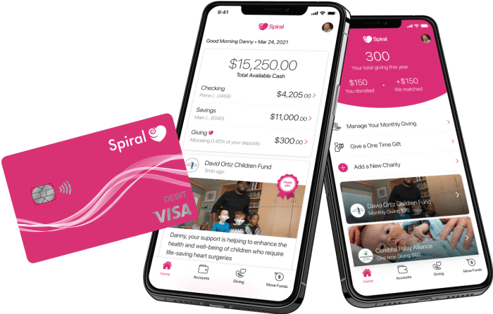 Spiral debit card that gives