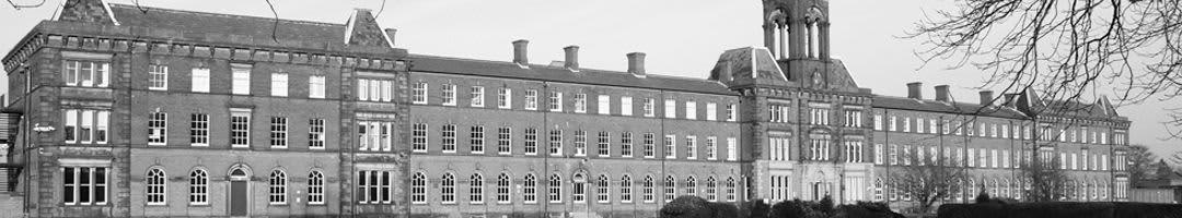 A black and white image of the business centre in Preston