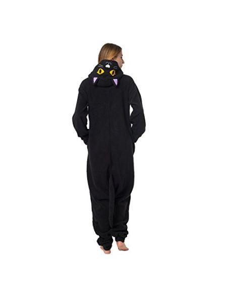 Katara 1744 - Grenouillère Combinaison pour Adultes Tenue de Nuit Pyjama Kigurumi - Taille S 145-155cm Chat Noir