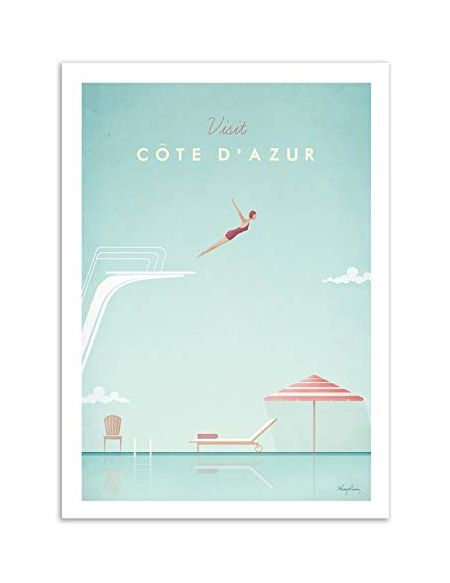 WALL EDITIONS Art-Poster - Visit Cote d'Azur - Henry Rivers - Format : 50 x 70 cm