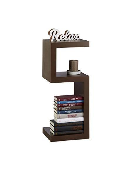 Relaxdays Étagère design rétro vertical horizontal 3 surfaces 30 cm uni rangement déco HxlxP: 75 x 30 x 30 cm, marron