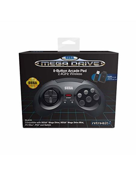 Retrobit - Sega Mega Drive Manette 8 boutons sans fil 2.4Ghz - Dongle USB/Port d'Origine inclus - Edition Noir