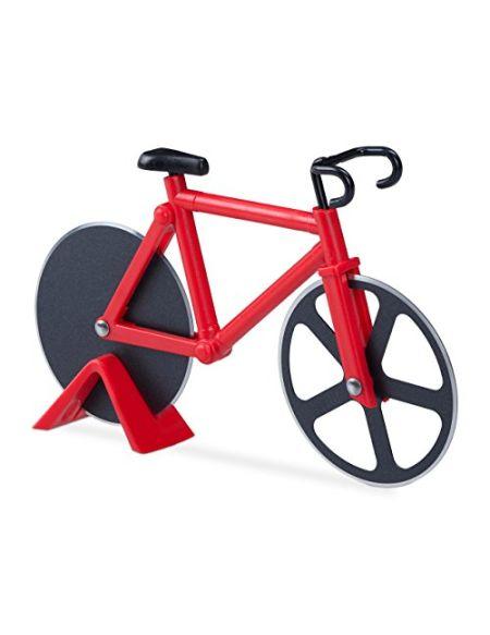 Relaxdays Roulette à pizza vélo découpe-pizza avec support coupe pâte Fixie coloré, rouge,3 x 18 x 11.5 cm