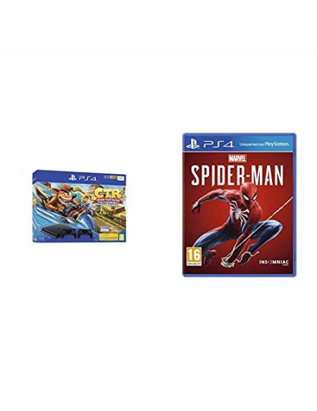 PS4 Slim 1 To F noir avec Crash Team Racing et 2nd Dual Shock 4 Noire V2 + Marvel's Spider-Man
