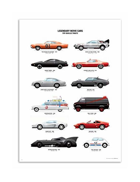 WALL EDITIONS Art-Poster - Legendary Movie Cars - Olivier Bourdereau - Format : 50 x 70 cm