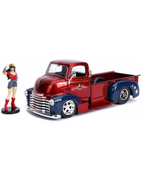 Jada DC Comics Bombshells Wonder Woman & 1952 Chevy COE Pickup Die-castCar, 1:24 Scale Vehicle & 2.75 Collectible Figurine