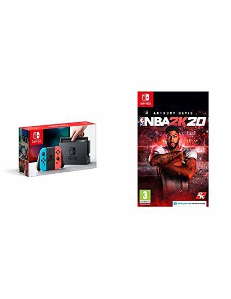 Nintendo Switch avec paire de Joy-Con Rouge Néon et Bleu Néon + NBA 2K20