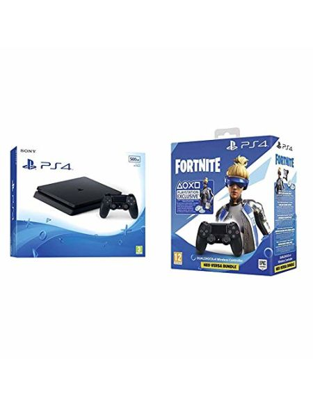 PS4 Slim 500 Go F + Manette Dual Shock 4 V2 pour PS4 - Noir + Code Fortnite (Digital)