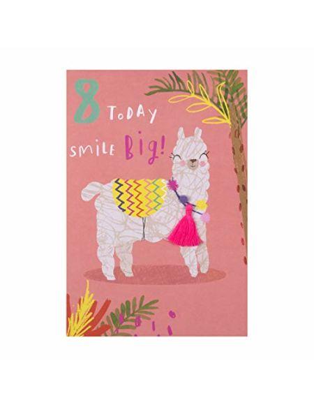 Hallmark Carte d'anniversaire 8 ans Motif lamas insolite avec pompon et pompon
