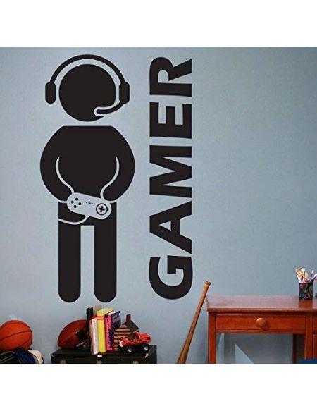 customwallsdesign Jeu Vidéo Gaming Gamer Autocollant Mural Art Décoration Autocollant en Vinyle pour Joueur