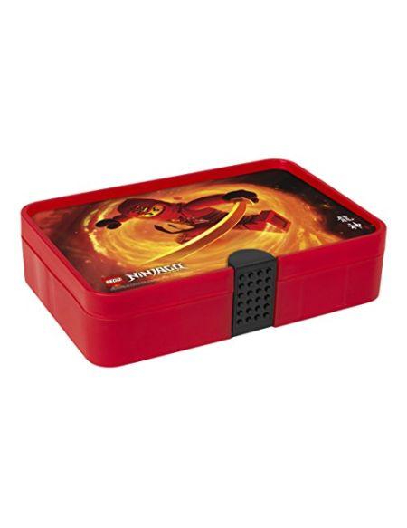 Boîte de tri LEGO Ninjago, Boîte de rangement / conteneur à 11 compartiments, rouge transparent