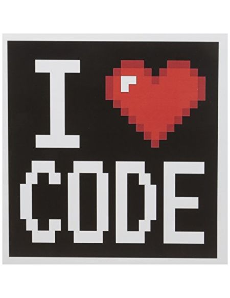 "3drose GC 118871 _ 1 6 x 15,2 cm""Geek Old School Pixelated pixels 8 bits I Heart I Love Code"" carte de voeux"