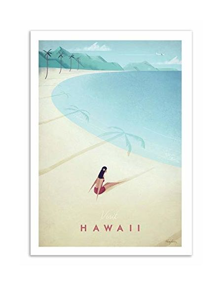 WALL EDITIONS Art-Poster - Visit Hawaii - Henry Rivers - Format : 50 x 70 cm