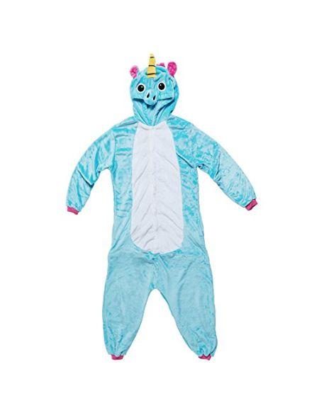 Katara- Pyjama Animal en Peluche Grenouillère Combinaison pour Adultes Fantaisie, Kigurumi, 1744, Licorne Turquoise-Rose, Taille 175-185cm (XL)