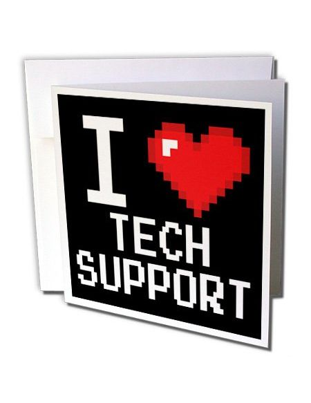 "3drose GC 118943 _ 1 6 x 15,2 cm""Geek Old School Pixelated pixels 8 bits I Heart I Love Tech Support"" carte de voeux"
