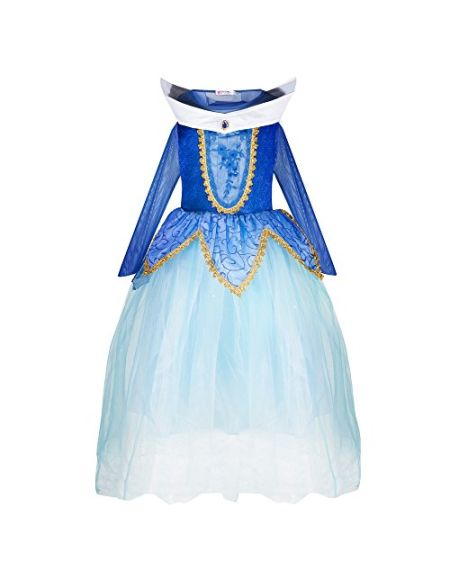 Katara 1772 - Déguisement Belle au Bois Dormant, Robe de Princesse Aurore, Tenue Soirées à Thème - Filles 7-8 Ans, Bleu