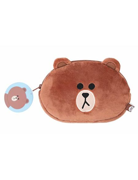 Erik - LINE3330 - Trousse scolaire en peluche - Line Friends Brown