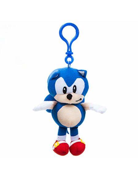 Sonic Le hérisson 467161 Peluche avec Attache à Clip, Douce, Multicolore, 13 cm