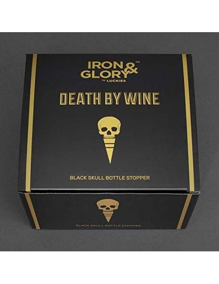 Iron & Glory Tête de mort - Bouchon à vin décoratif pour préserver le vin et les boissons, avec joint en caoutchouc étanche - Noir
