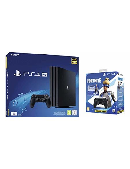 PS4 Pro 1 To G - noir + Manette Dual Shock 4 V2 pour PS4 - Noir + Code Fortnite (Digital)
