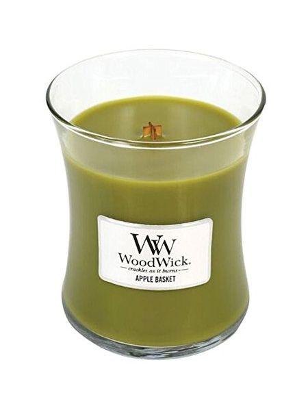 Woodwick 92056 Bougie Le Panier des Pommes, Ovale, Verre, Vert, 9,6 x 9,5 x 11,6 cm