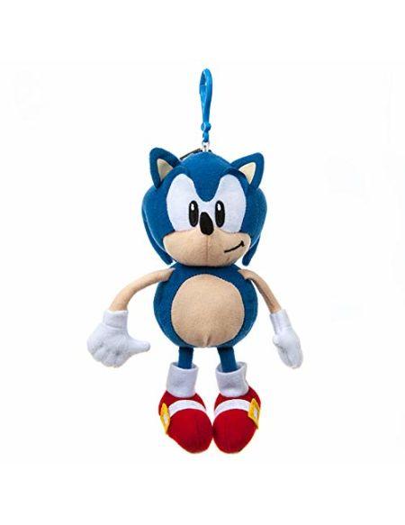 Sonic Le hérisson 467151 Peluche avec Clip de Fixation et Pochette pour pièces de Monnaie Multicolore 20 cm