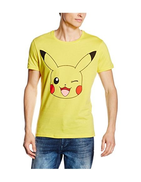 T-Shirt Pokémon Pikachu Clin d'oeil Homme Taille S Jaune