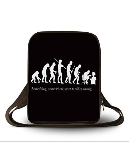 Luxburg® Design Sacoche Housse en bandoulière Besace pour Tablette et liseuse eBook Reader jusqu'à 10,1 Pouces, Motif: Evolution de Geek
