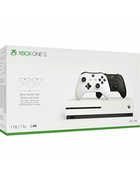 Pack Console Xbox One S 1To + 2 manettes noire et blanche - Lecteur Blu Ray inclus