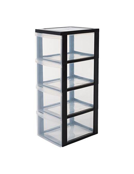 Iris Ohyama, armoire de rangement sur roulettes à 4 tiroirs - Design Chest - DC-304, plastique, noir/transparent, 60 L, 39 x 29 x 81,5 cm