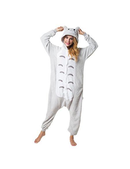 Katara 1744 - Grenouillère Combinaison pour Adultes Tenue de Nuit Pyjama Kigurumi - Taille L 165-175cm Chat Gris-Marron