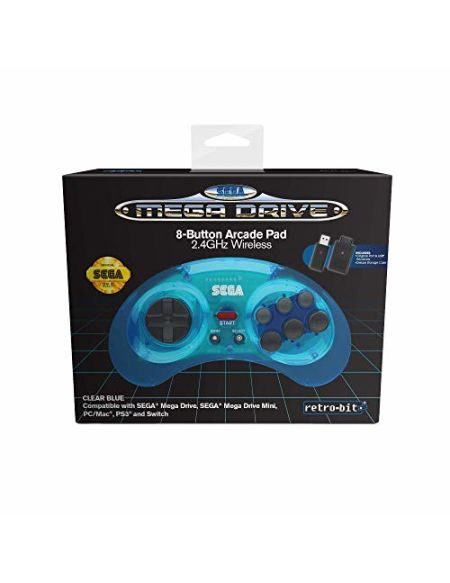Retrobit - Sega Mega Drive Manette 8 boutons sans fil 2.4Ghz - Dongle USB/Port d'Origine inclus - Edition Bleu