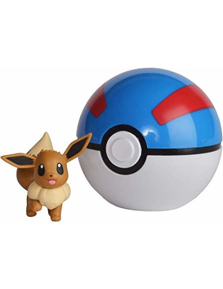 Pokeball Pokémon et Figurine Evoli 5 cm