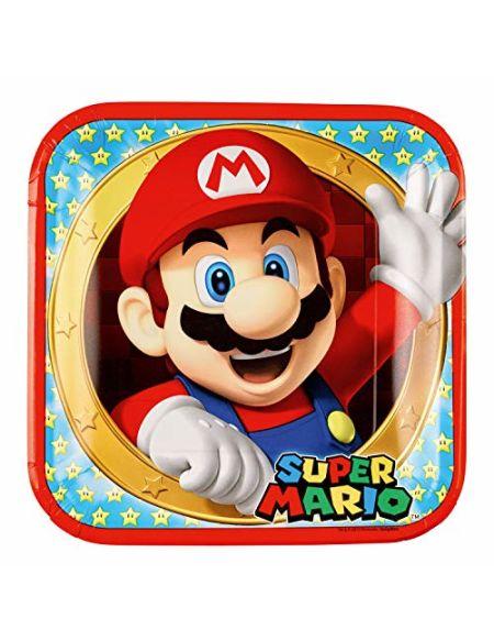 amscan- Assiette en Carton Super Mario, 9901535, 23 cm