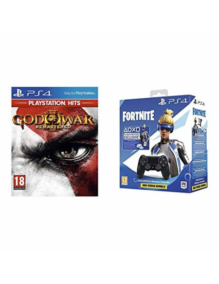 God of War 3 Remastered HITS + Manette Dual Shock 4 V2 pour PS4 - Noir + Code Fortnite (Digital)